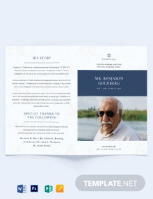 Jewish Funeral Program Bi-fold Brochure Template