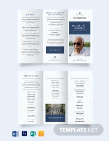 Jewish Funeral Program Tri-fold Brochure Template