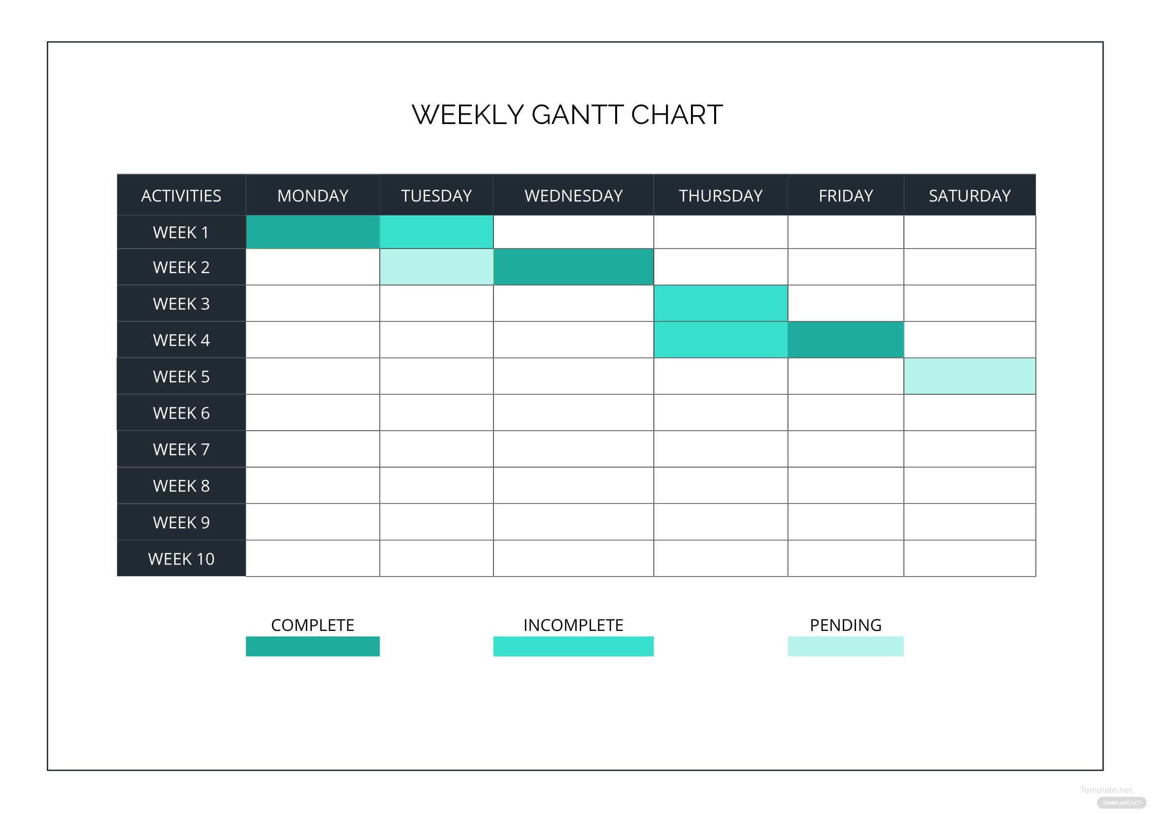 weekly gantt chart template in microsoft word excel. Black Bedroom Furniture Sets. Home Design Ideas