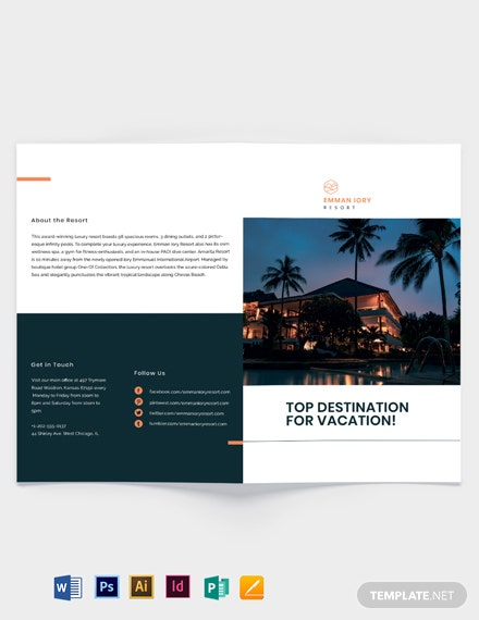 luxury resort bi fold brochure template