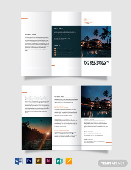 luxury resort tri fold brochure template