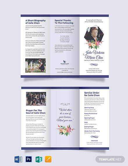 Mother/Mom Funeral Program Tri-Fold Brochure Template
