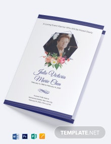 Mother/Mom Funeral Program Bi-Fold Brochure Template
