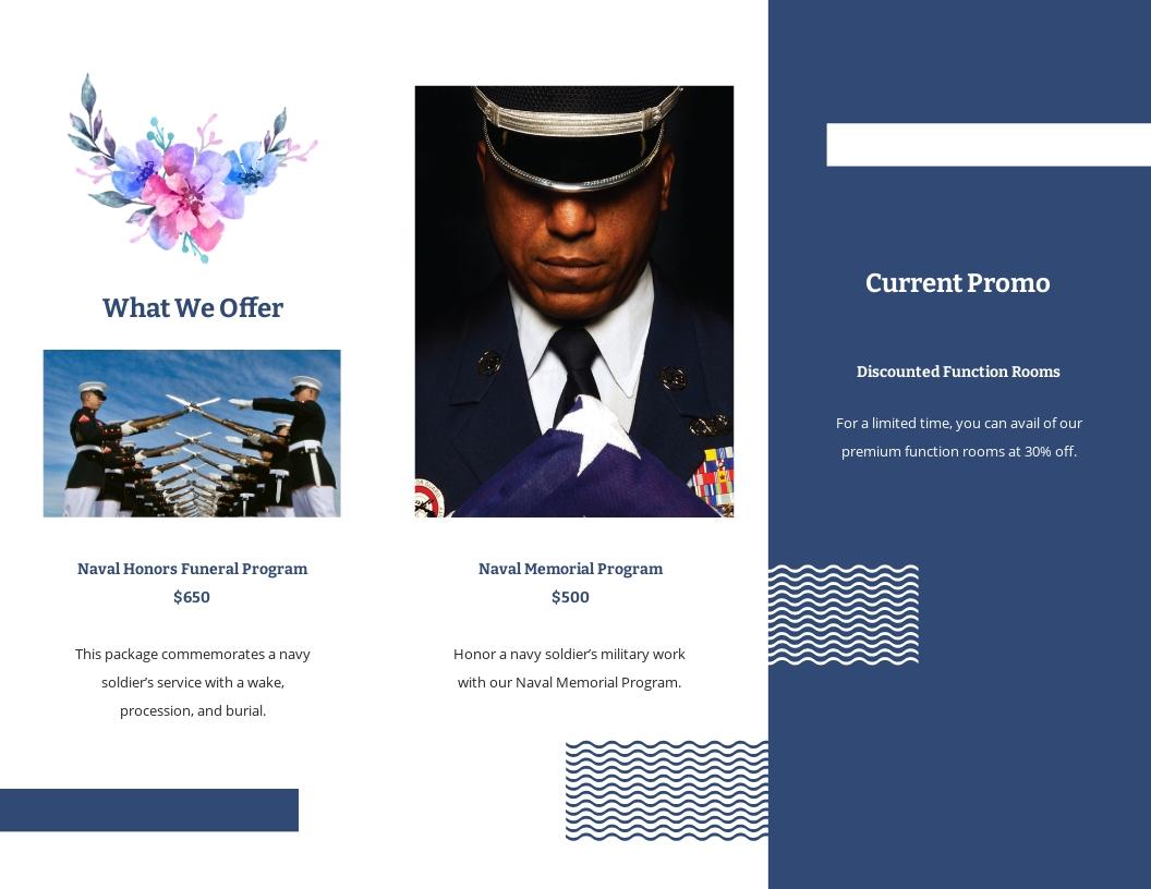 Navy Honors Funeral Memorial Tri Fold Brochure Template 1.jpe