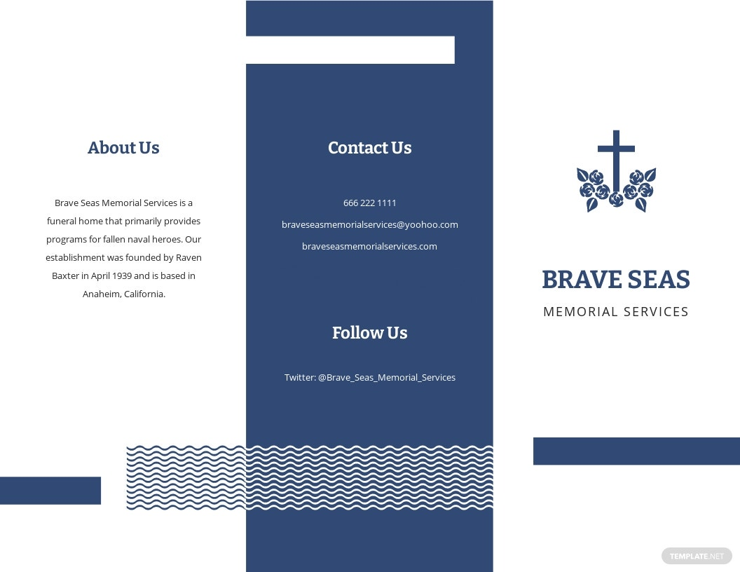 Navy Honors Funeral Memorial Tri Fold Brochure Template.jpe