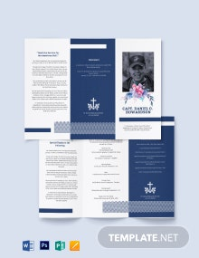 Navy Honors Funeral Memorial Tri-Fold Brochure Template