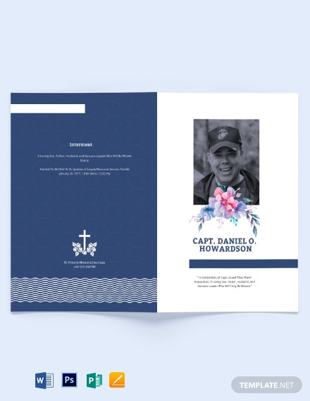 Navy Honors Funeral Memorial Bi-Fold Brochure Template
