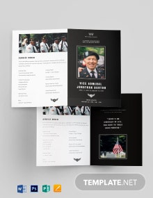 Navy Honors Funeral Obituary Bi-fold Brochure Template