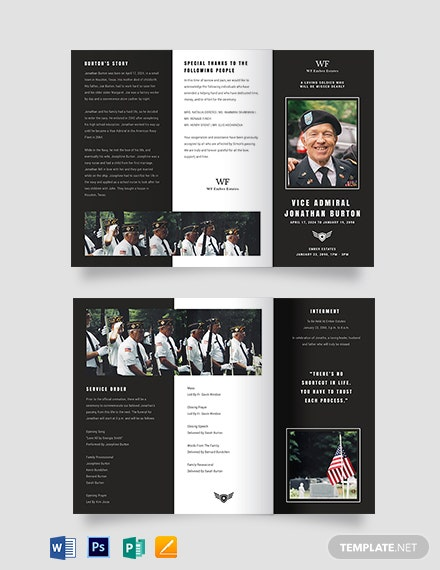 Navy Honors Funeral Obituary TriFold Brochure Template