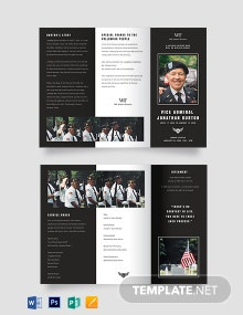 Navy Honors Funeral Obituary Tri-fold Brochure Template