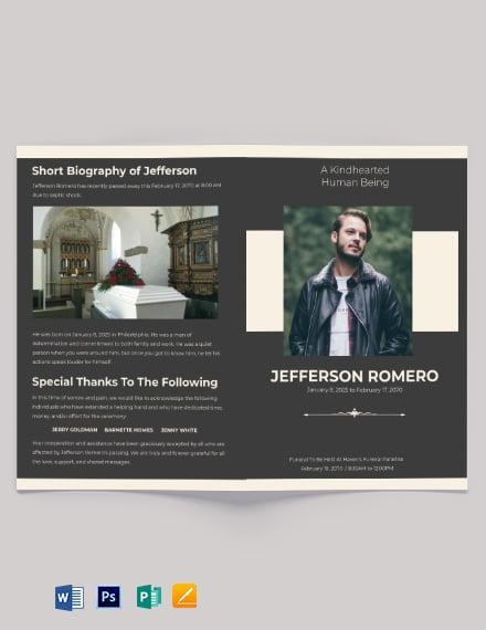 Order of service Eulogy Funeral Bi-Fold Brochure Template