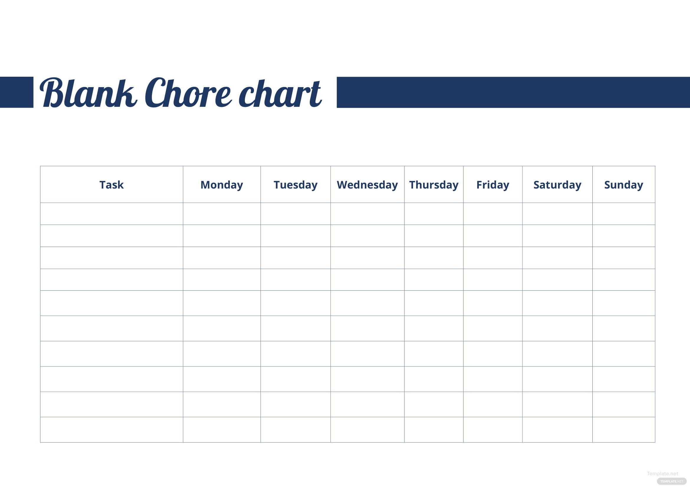 blank chore chart template in microsoft word