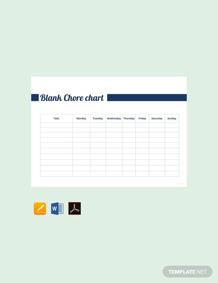 Free Blank Chore Chart Template
