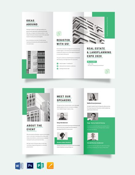 Real Estate Corporate Event Tri-Fold Brochure Template