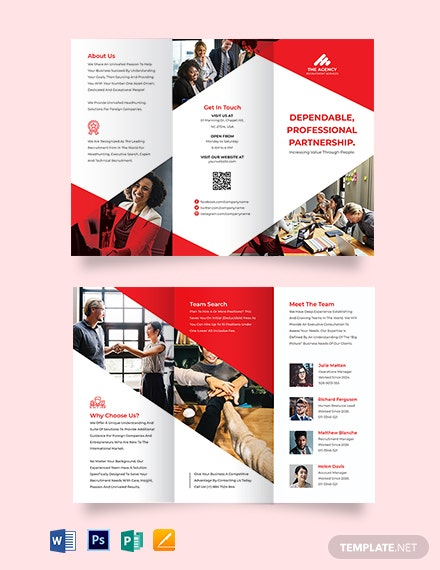 recruitment company tri fold brochure template