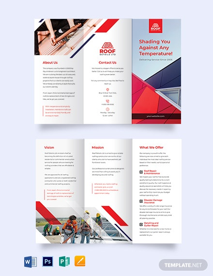 Roofing Construction Tri-Fold Brochure Template