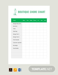 Free Boutique Chore Chart Template