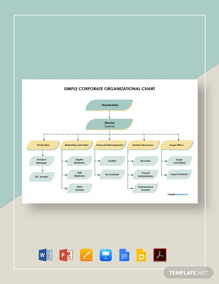 Free Simple Corporate Organizational Chart Template
