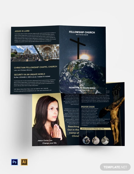 Free Church Bi-Fold Brochure Template