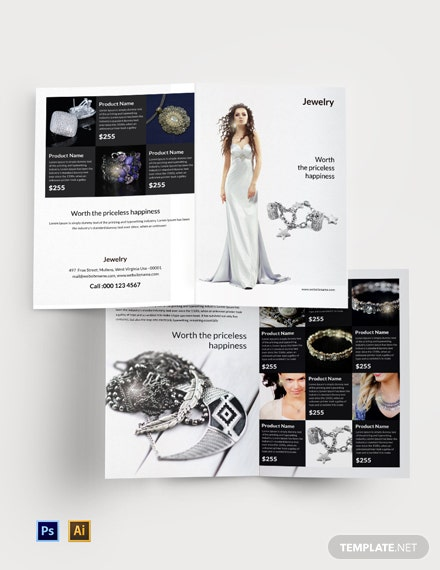 Free Jewelry Bi-Fold Brochure Template