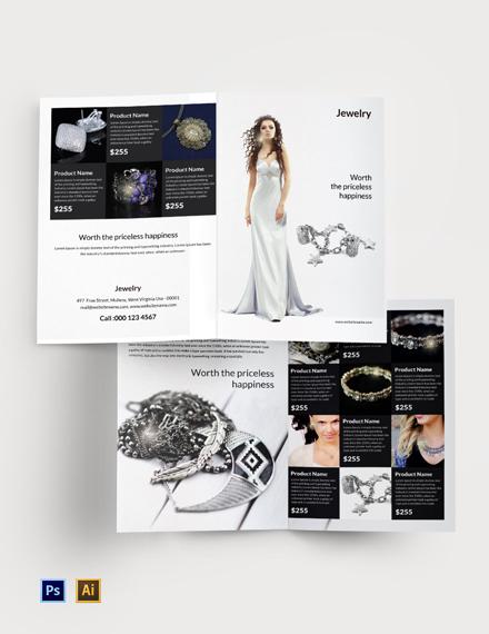 Free Jewelry Bi-Fold Brochure Template