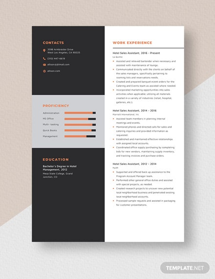 Hotel Sales Assistant Resume Template