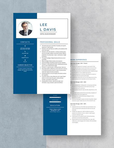 Hotel Sales Manager Resume Download