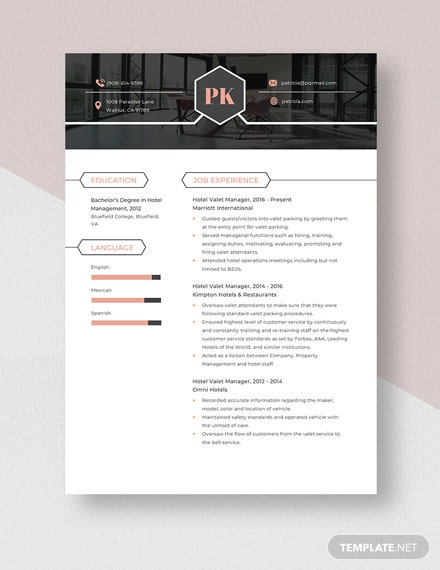 Hotel Valet Manager Resume Template
