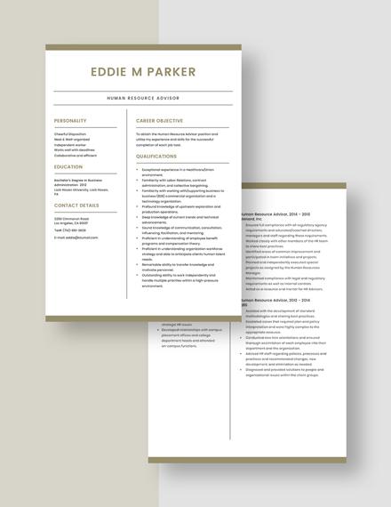 Human Resource Adviser Resume Download