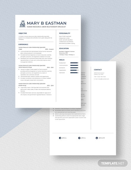 Human Resource Labor Relationship Specialist Resume Download
