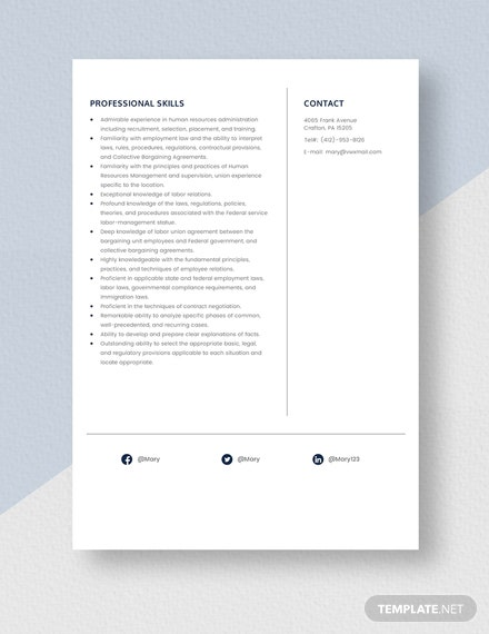 Human Resource Labor Relationship Specialist Resume Template