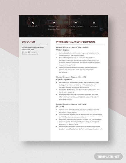 Human Resources Director Resume Template