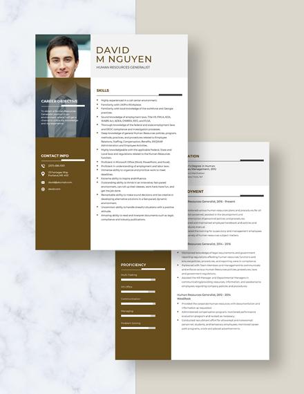 Human Resources Generalist Resume Download