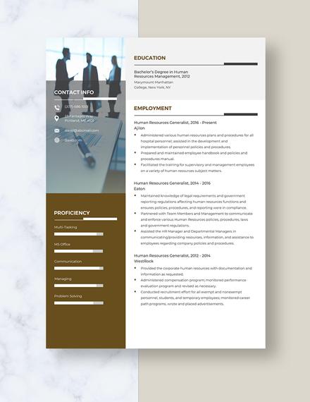 Human Resources Generalist Resume Template