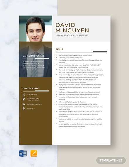 Human Resources Generalist Resume Template