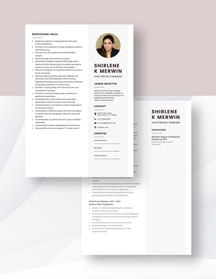 HVAC Project Manager Resume Download