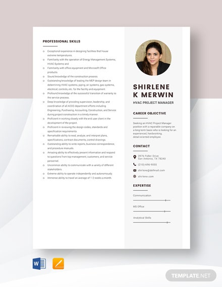 HVAC Project Manager Resume Template