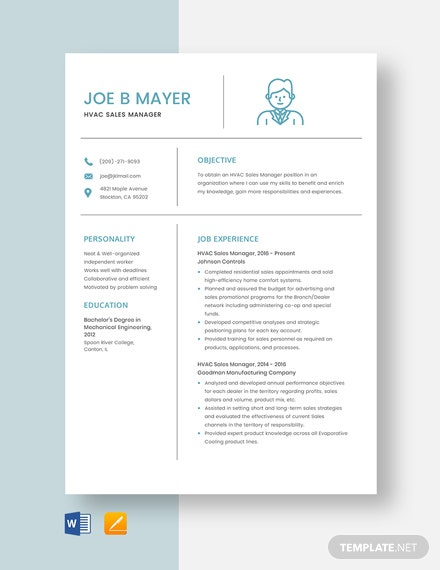 HVAC Sales Manager Resume Template