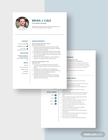 HVAC Service Manager Resume Download
