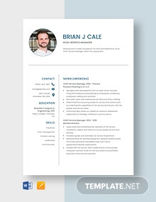 HVAC Service Manager Resume Template