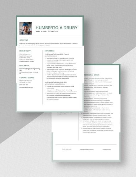 HVAC Service Technician Resume Download