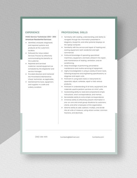 HVAC Service Technician Resume Template