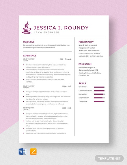 Java Engineer Resume Template