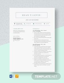 Java JEE Developer Resume Template