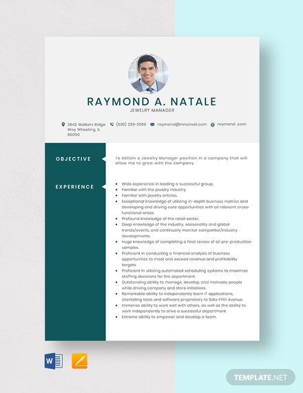 Jewelry Manager Resume Template