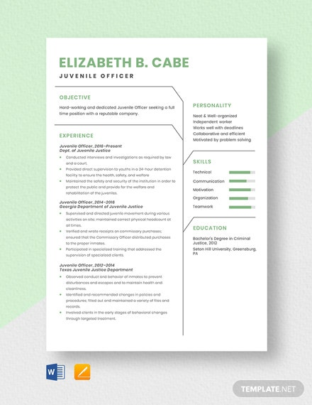 Juvenile Officer Resume Template