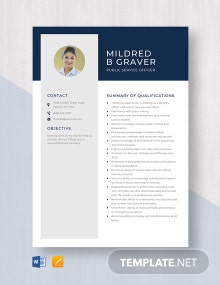 Public Service Officer Resume Template