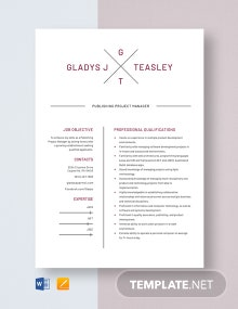 Publishing Project Manager Resume Template