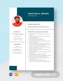 Pump Mechanic Resume Template