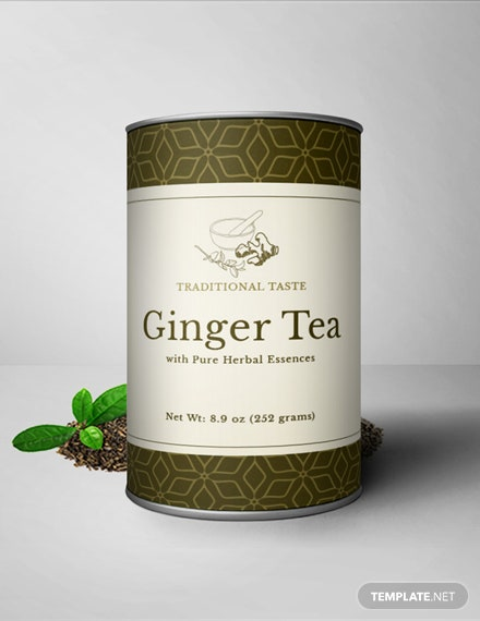 Free Ginger Tea Bottle Label Template